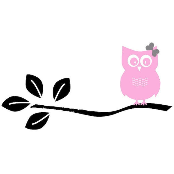 Vinyl Decal Owl And A Tree Branch