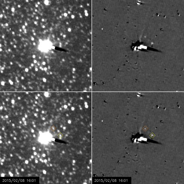 Still images showing Nix and Hydra orbiting Pluto...as seen from NASA's New Horizons spacecraft between January 27 - February 8, 2015.