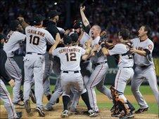 San Francisco Giants celebrate victory