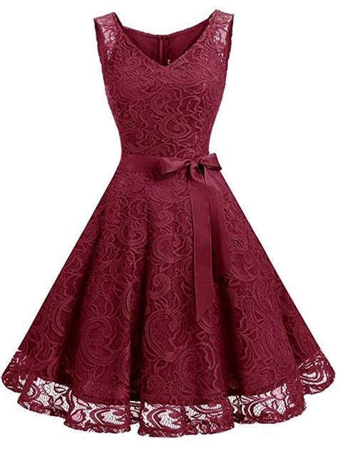 V Neck Bowknot Hollow Out Plain Lace Skater Dress in 2019