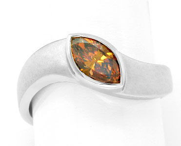 Original-Foto 1, DIAMANT-RING FANCY INTENSE YELLOWISH ORANGE LUXUS! NEU!