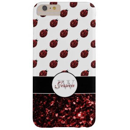 Red sparkles Ladybug Monogram iPhone 6 plus case