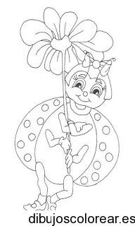 Dibujo De Una Mariquita Con Una Flor