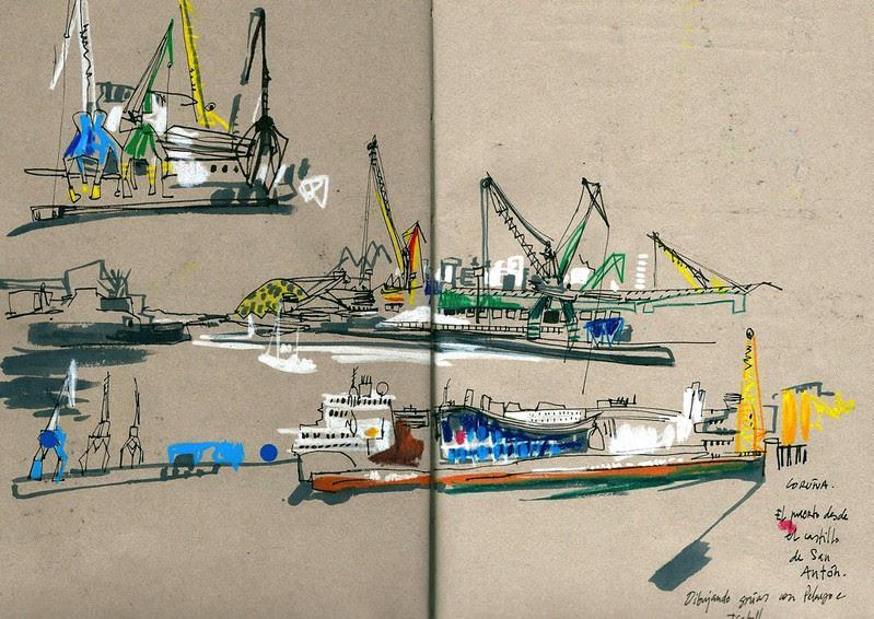 Grúas en el puerto de A Coruña