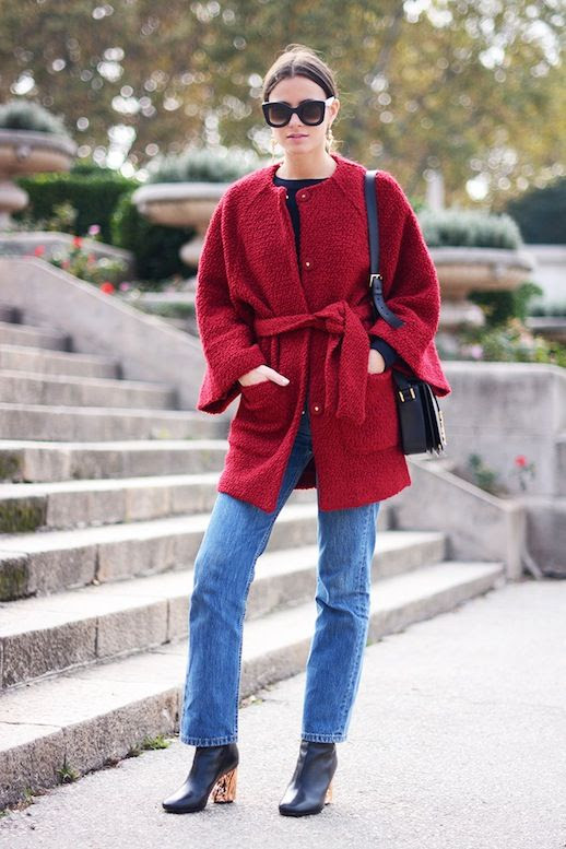 Le Fashion Blog Fall Cat Eye Celine Sunglasses Belted Red Wrap Coat Ysl Saint Laurent Crossbody Boyfriend Jeans Rose Gold Heel Acne Boots Via Fashionvibe