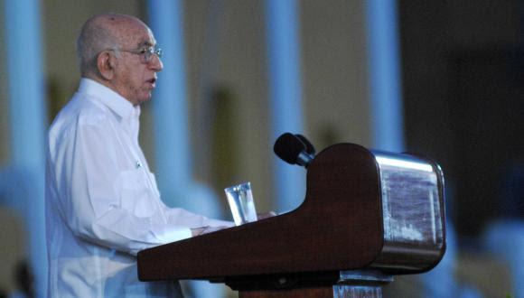 Discurso de José Ramón Machado Ventura, segundo secretario de Comité Central del PCC. Foto: Yaciel Peña de la Peña/ AIN.
