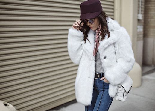 Le Fashion Blog Purple Hat Gray Sweater Neck Tie White Fur Coat Blue Jeans Via Tsangtastic