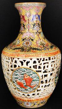 Qing Dynasty Famille-Rose Yellow Ground Double-Walled Reticulated Jumping Fish Vase 清 乾隆 粉彩黃地冬青釉透雕開光魚躍青花套瓶 (大清乾隆年製)六字三行篆書青花款
