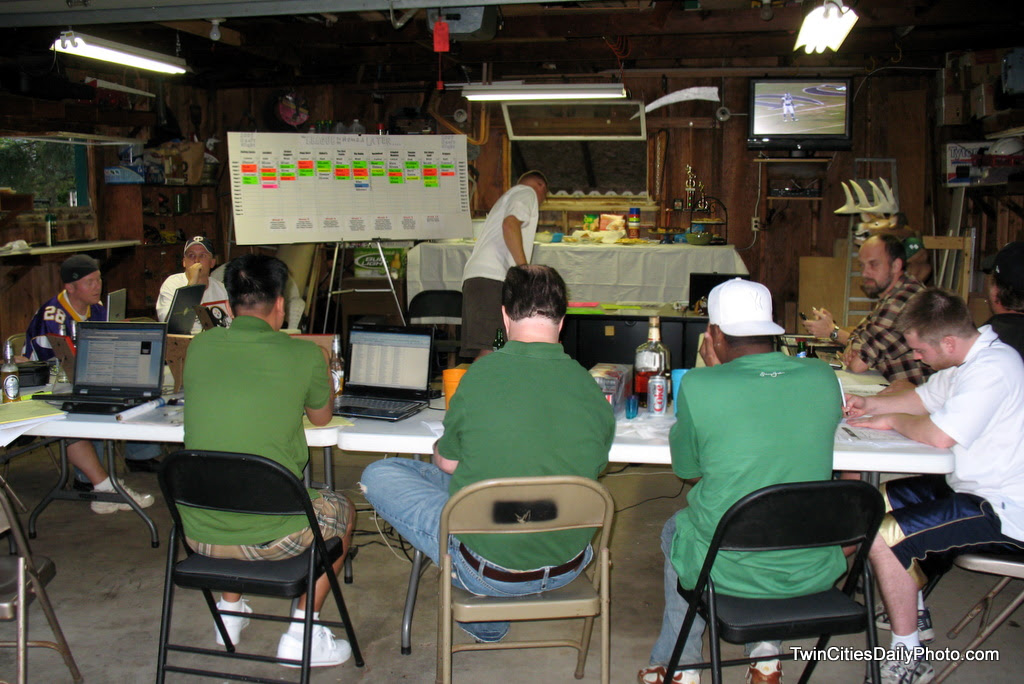 Live from my garage, is the Fantasy Football draft headquarters for the 12 team league that I run.
