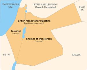 British Mandate of Palestine, 1920s. Created b...