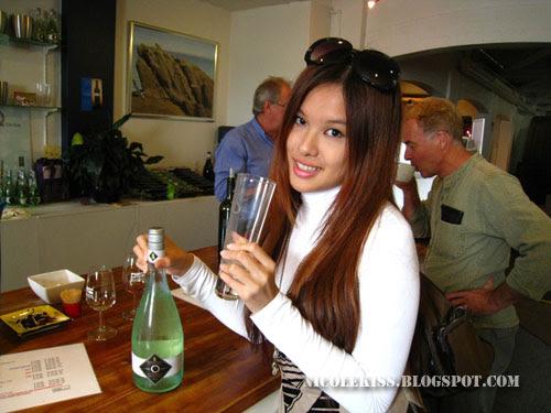 drinking sparkling wine