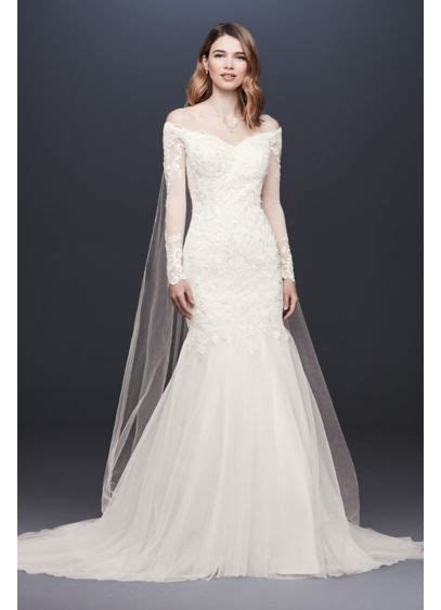 Long Sleeve Lace and Tulle Trumpet Wedding Dress   David's