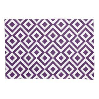 Purple and White Meander Geometric Pattern Pillowcase