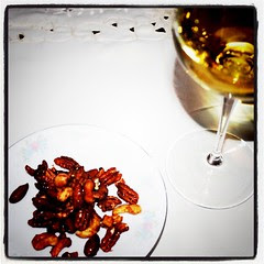 Candied nuts and white wine