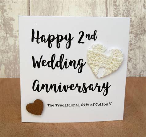2nd Wedding Anniversary Gift Cotton Script Card   eBay