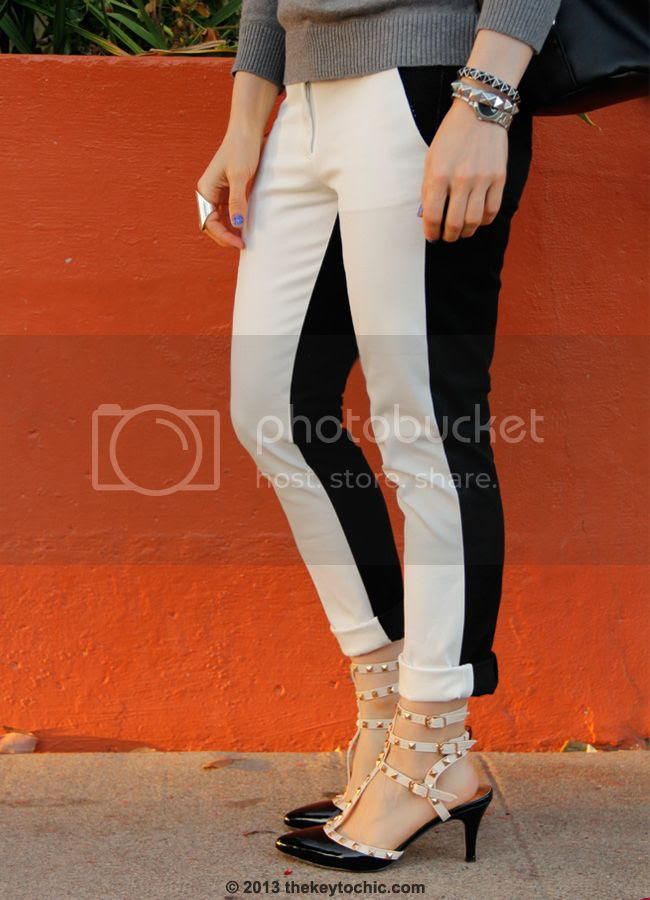 L.A. fashion blogger wearing Merona two-tone pants, Valentino Rockstud inspired heels for less, Fantas-Eyes sunglasses