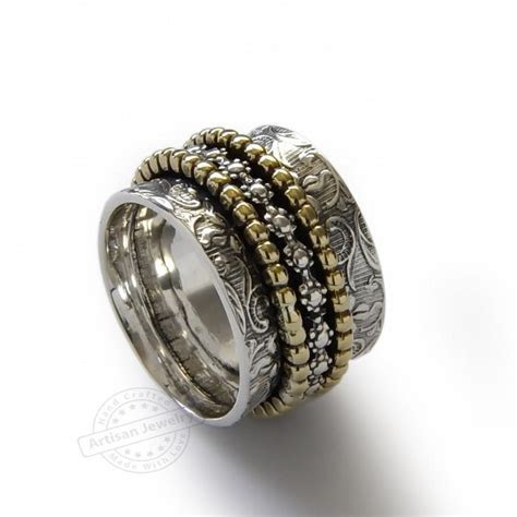 Floral Spinners Band, Brass And Sterling Silver, Infinity