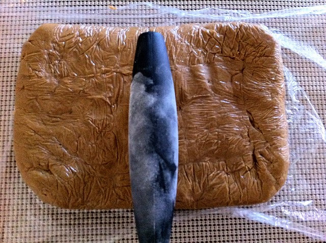 Cutting Gingerbread Dough in Half
