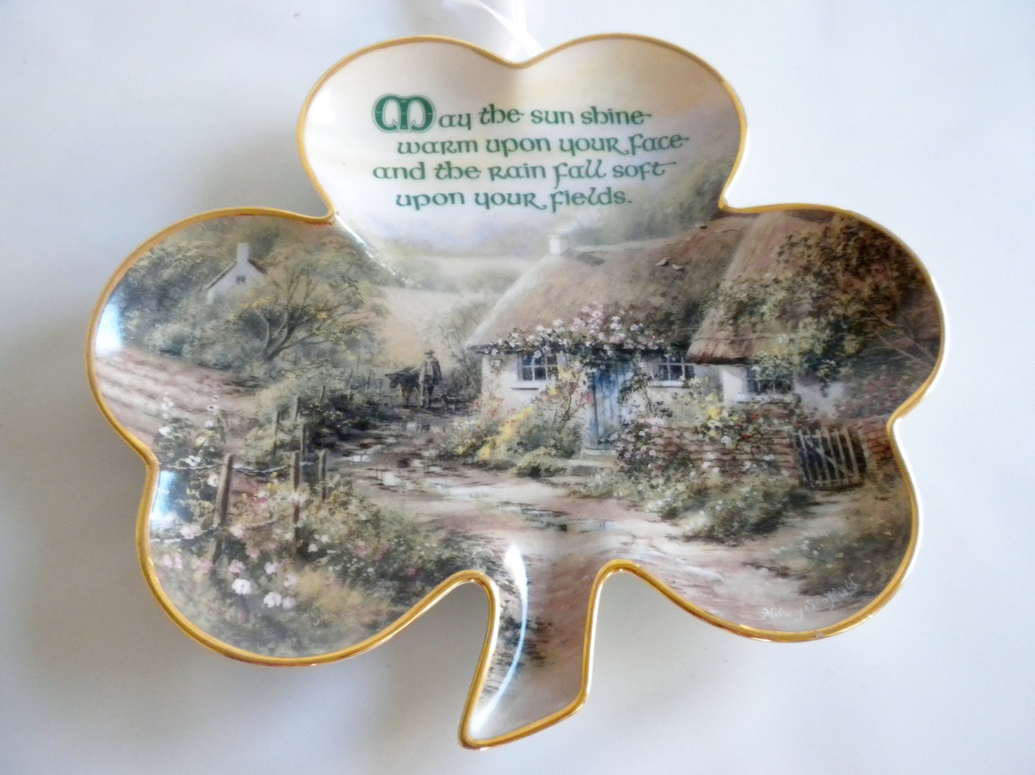 May the Sun Shine Warm Upon Your Face, Limited Edition, Irish Blessing, Franklin Mint Plate,Vintage 1990s Shamrock - oldandnew8