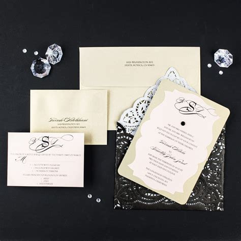 Black Lace Wedding Invitations   Too Chic & Little Shab