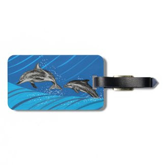 Dolphins Jumping out of the Water Bag Tag