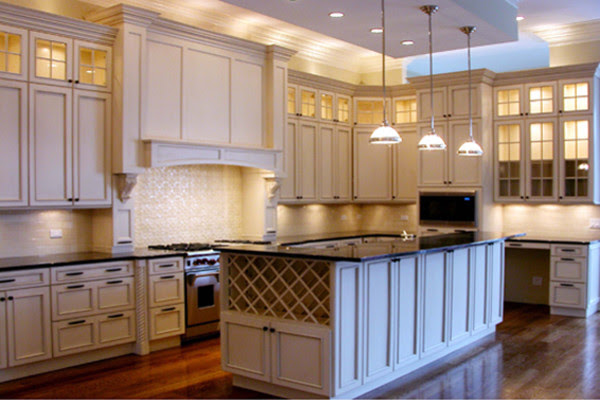 White Kitchen Lighted Cabinets