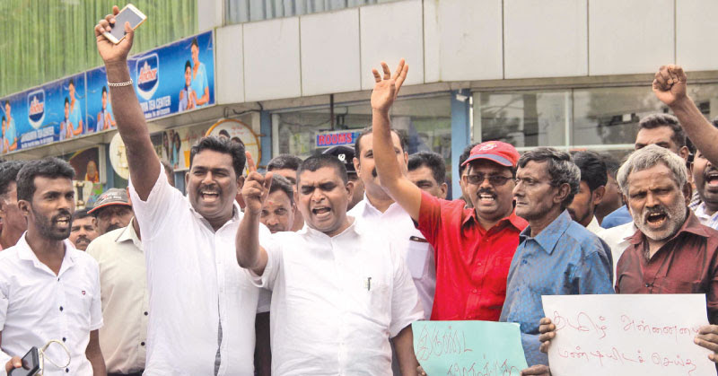 The National Union of Workers held a protest in Hatton, demanding the government to remove Uva Province Chief Minister Chamara Sampath Dassanayake, who had allegedly forced a principal of a school in Badulla to kneel down for not executing his orders. Picture by Hatton Central Corr.