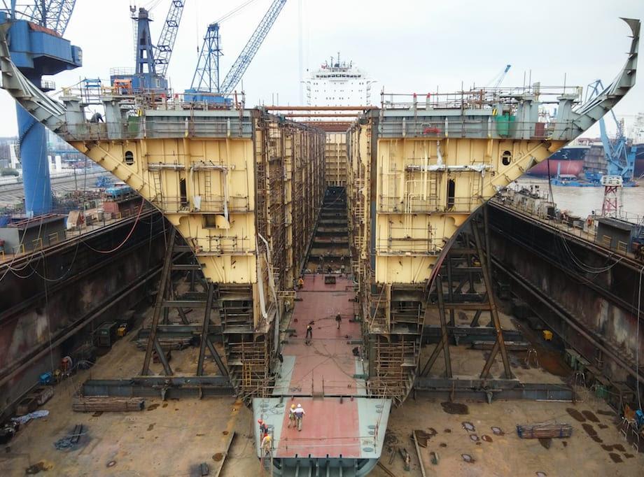 MSC Geneva at the HRDD  shipyard in China. Photo: Reederei NSB