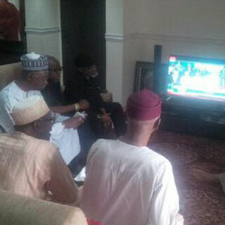 Apc Presidential Candidate With Apc National Chairman Watching The Announcement -