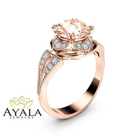 Morganite Engagement Ring Unique 14K Rose Gold Ring Art