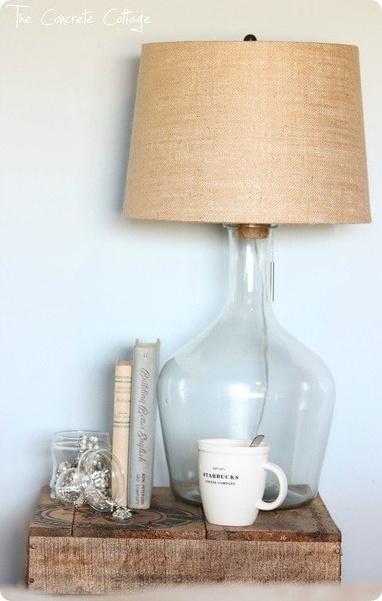 DIY Home Decor | Find out how to turn a large jug from the craft store into a bottle lamp just like Pottery Barn's!