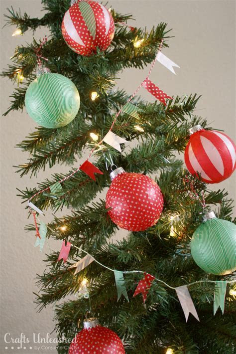 Christmas Tree Decorations with Washi Tape & Bakers Twine