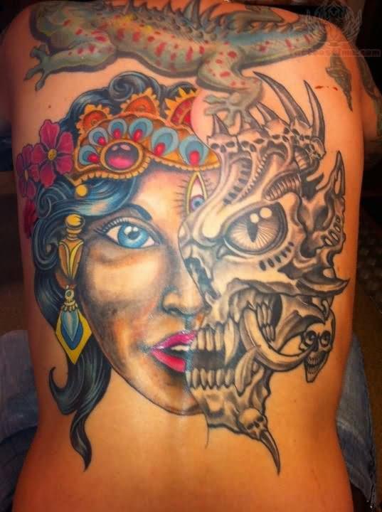 Half Skull Girl Face Girl Tattoo On Arm