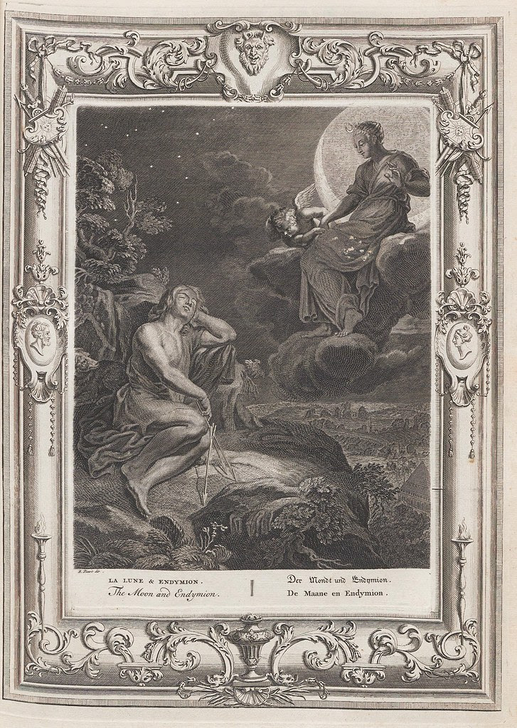 book illustration of human seated in moonlit clouds above a sleeping human on land