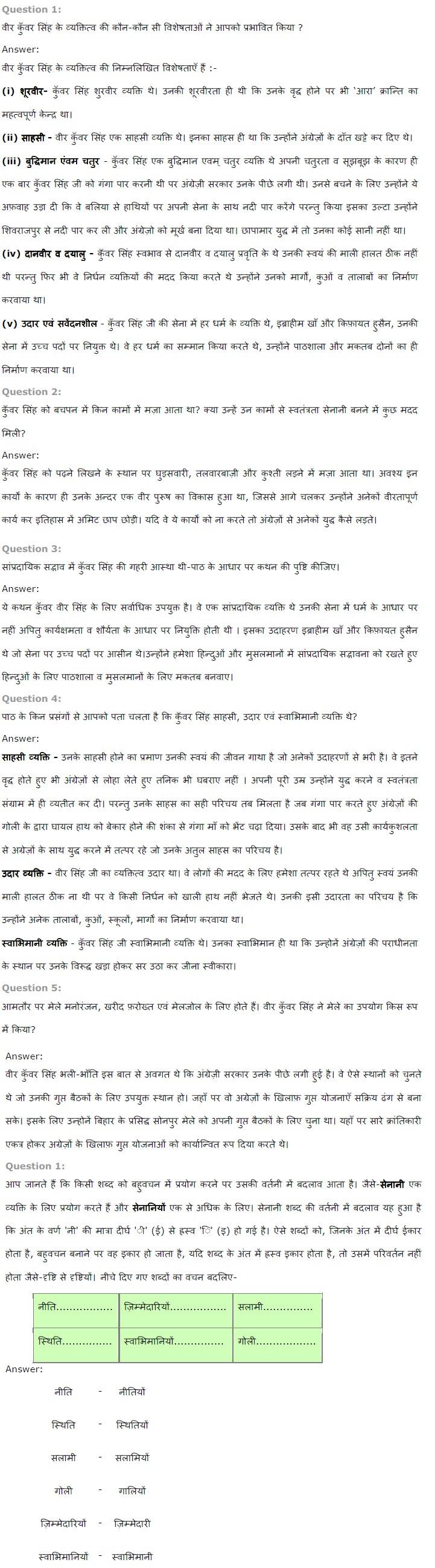 NCERT Solutions for Class 7th Hindi Chapter 17 वीर कुवर सिंह