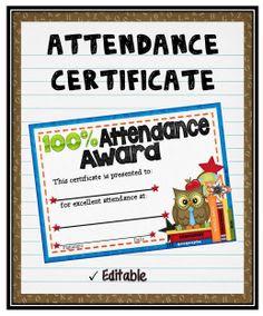 Attendance Certificates Set {Fillable}   Estudante e Presença
