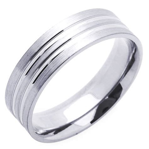 Men's 14K White Gold 6mm Brushed Polished Wedding Band