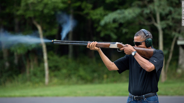 White House releases photo of Obama shooting shotgun