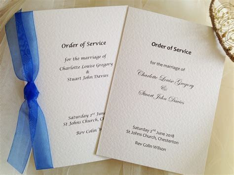 Small Order of Service Books   Wedding Stationery