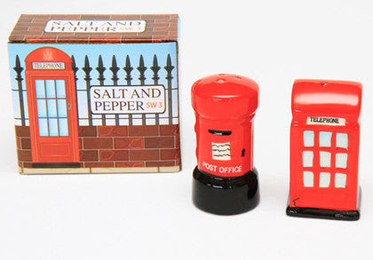 Gift Novelty British Salt Pepper Red Phone Post Box Work Home Play