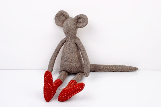 handmade cloth doll-knitted silk Mouse Wearing Red dotted socks