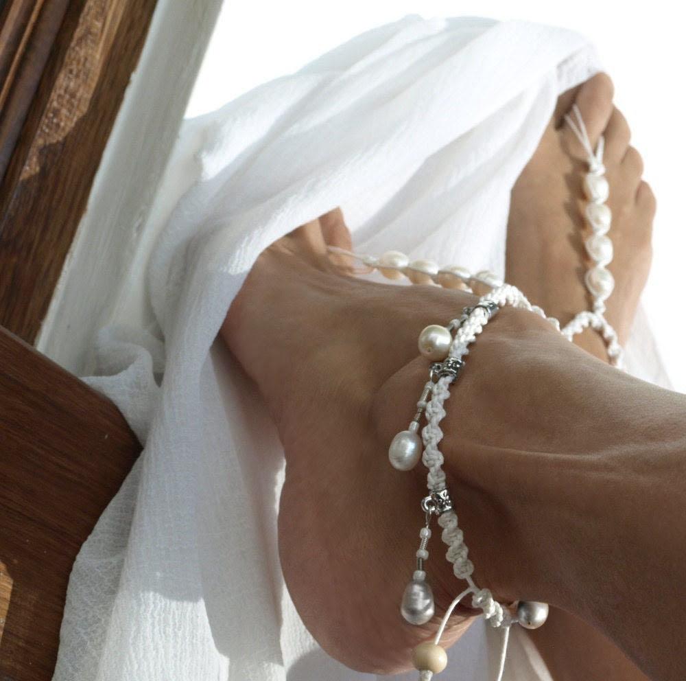 White Lady Wedding, Barefoot Sandal, Anklet, Bridal Sandal, Shiny White Pearl, 1 Pair, CIJ - M0MITA