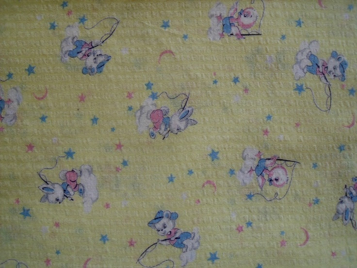 vintage baby chicks and bunnies fabric