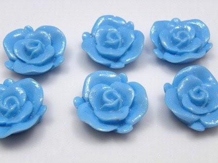 23mm Blue Shimmer Rose Resin Cabochons - 10 pcs