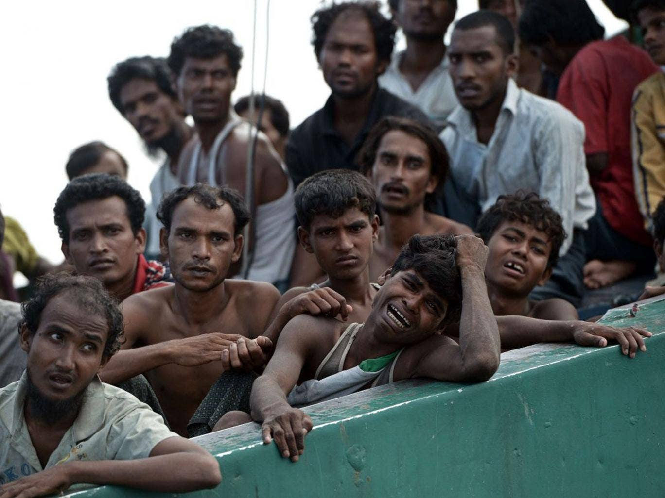 Rohingya migrants in a boat adrift in the Andaman Sea last week
