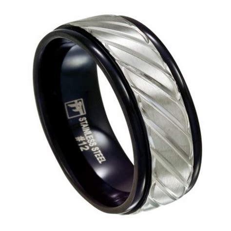 Black Stainless Steel Men's Wedding Ring, Carved Overlay, 8mm