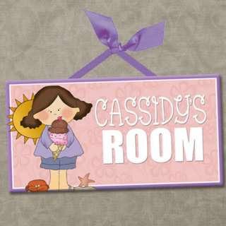 Kids Bedrooms on Personalized Kids Room Door Sign Beach Girls Ice Cream  Cute Wall