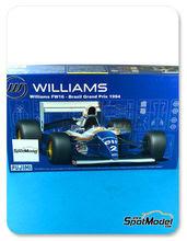 Maqueta de coche 1/20 Fujimi - Williams Renault FW16 Segafredo Nº 0, 2 - Ayrton Senna, Damon Hill - Campeonato del Mundo 1994