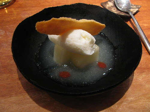 Melon soup, coconut sorbet