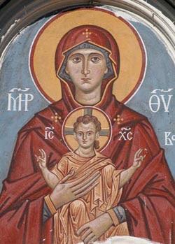 Heilige Maria Orante Fresko